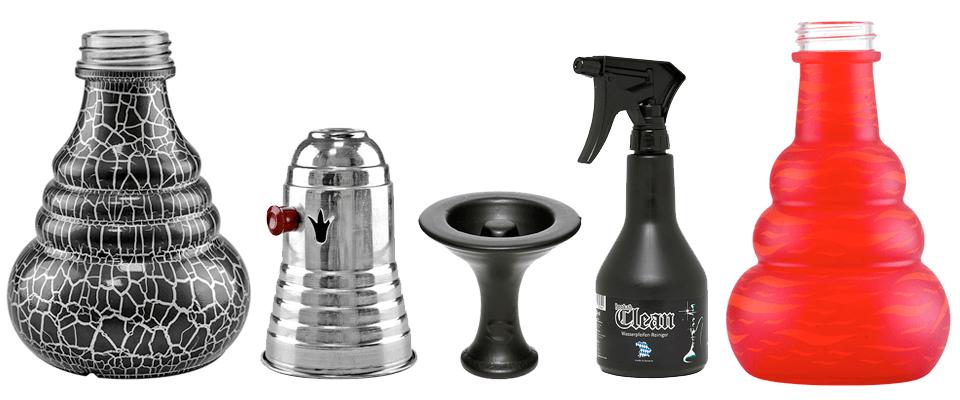 Príslušenstvo ku vodným fajkám značky Aladin - vázy na vodnú fajku, tarbuš, korunka typu phunnel a čistiaci prostriedok Hookah Clean.